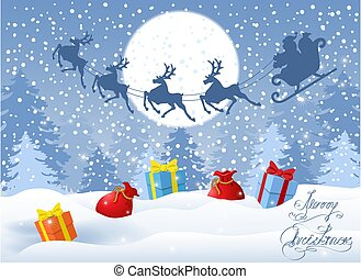 Christmas card with gift boxes against winter forest background and Santa Claus in sleigh with reindeer team flying in the sky. New Year design postcard.
