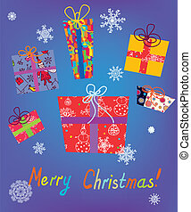 Christmas card with gifts and snow cute design