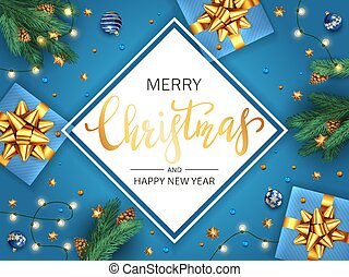 Christmas Card with Gifts on Blue Background