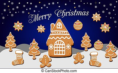 Christmas card with gingerbread house, stars and Christmas tree on a winter background
