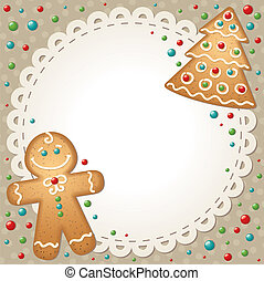 christmas card with gingerbreads and white frame