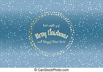 "Christmas card with glittering stars and translucent snowflakes and text ""Merry Christmas"""