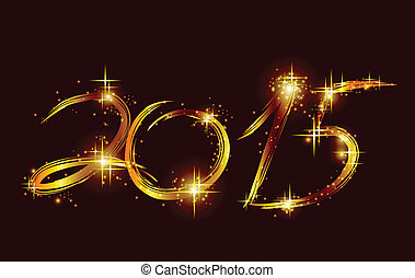 Christmas card with glow gold 2015. Vector