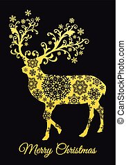 Christmas card with gold deer, vector