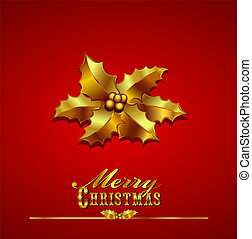 Christmas Card with Gold Holly