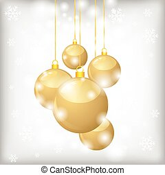 Christmas card with golden balls and snowflakes