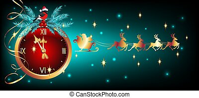 Christmas card with golden chimes and bullfinches in Santa hat and flying reindeer team with Santa Claus in sledge