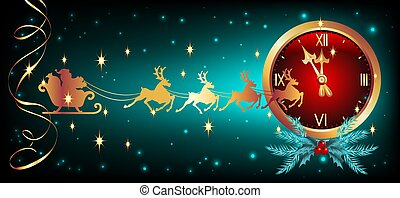 Christmas card with golden chimes with serpentine and flying reindeer team with Santa Claus in sledge in starry sky. New Year or Christmas vector illustration.