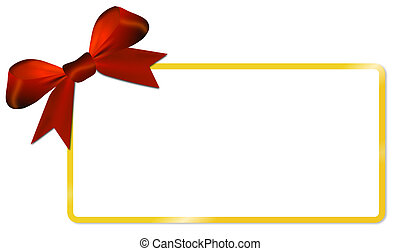 Christmas card with golden frame red bow