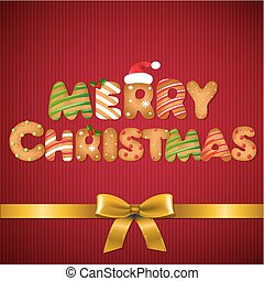 Christmas Card With Golden Ribbon