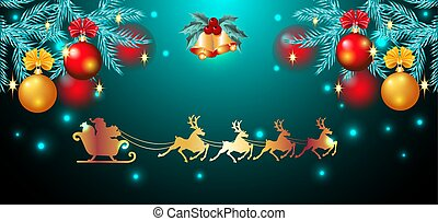 Christmas card with golden ringing bells and spruce with balls and flying reindeer team with Santa Claus in sledge in starry sky