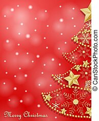 Christmas card with golden snowflakes tree