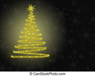 Christmas card with golden tree on black background