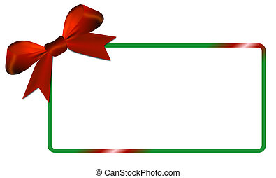 Christmas card with green frame red bow