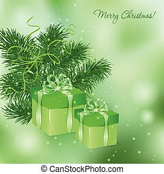 Christmas  card with green gift boxes