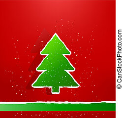 Christmas card with green paper tree. Vector illustration.