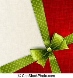 Christmas card with green polka dots bow