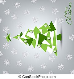 Christmas card with green white tree in triangular design