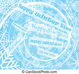 christmas card with greetings - Winter snow storm spiral...