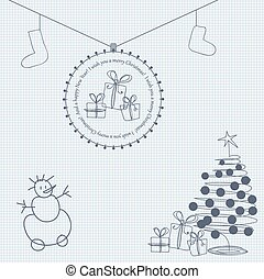 Christmas card with greetings in Doodle style