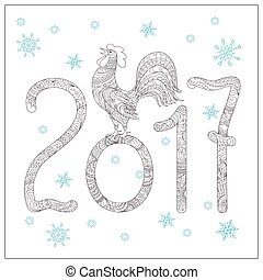 Christmas card with hand drawn decorated 2017 and rooster -...