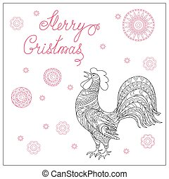 Christmas card with hand drawn decorated  rooster
