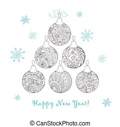 Christmas card with hand drawn decorated balls - Festive...
