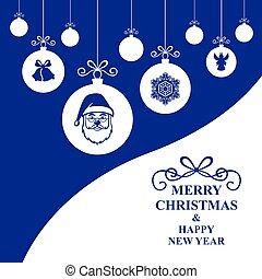 Christmas card with hang decorative balls