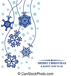 Christmas card with hang decorative snowflakes