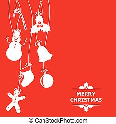Christmas card with hanging baubles on red background