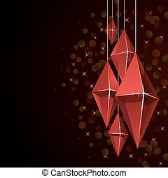 Christmas card with hanging red glass baubles.