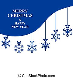 Christmas card with hanging snowflakes baubles