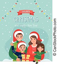 Christmas card with happy family and lettering. Cute vector illustration in flat style