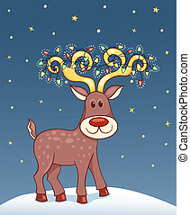 Christmas card with happy reindeer.