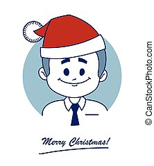 Christmas card with happy Santa Claus in red hat