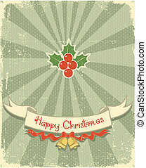 Christmas card with holiday elements for design.Vintage...