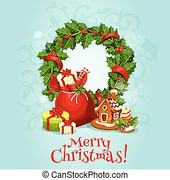 Christmas card with holly berry wreath and gift