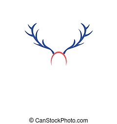 Christmas card with horns - Christmas icon with horns on a...