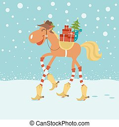 Christmas card with horse in cowboy hat and boots in winter...