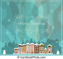 Christmas card with houses, vector