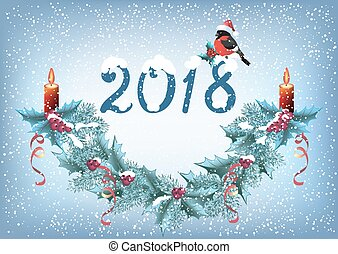 "Christmas card with inscription ""2018"" and bullfinch in Santa hat, spruce garland with burning candle"