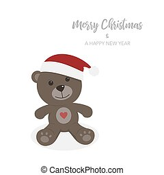 Christmas card with isolated teddy bear