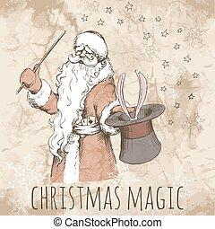 Christmas card with magic Santa