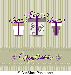 christmas card with multicolored gift boxes on beige