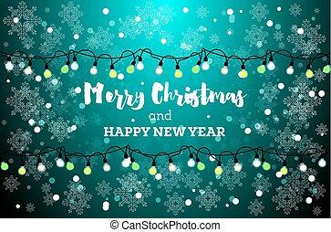 Christmas Card with Neon Light Bulbs and Snowflakes.