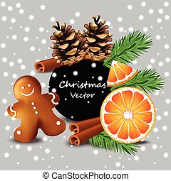 Christmas card with orange and cookies Vector. Happy...