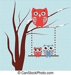 Christmas card with owls family sitting on the tree branch on blue knitted background.