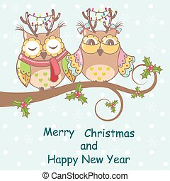 Christmas card with owls on a tree