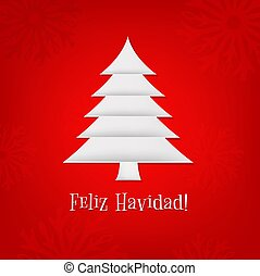 Christmas Card With Paper Fir-tree