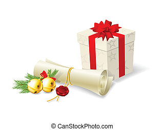Christmas card with paper scroll wi